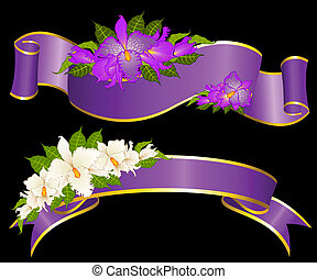 beautiful flowers and ribbons - Vector background with...
