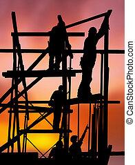 construcción, trabajadores, contra, colorido, ocaso