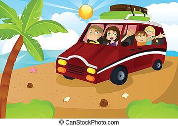 Family vacation - A vector illustration of a family riding a...