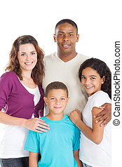 happy multiracial family of four studio portrait