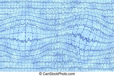 Brain wave EEG with blue background, texture