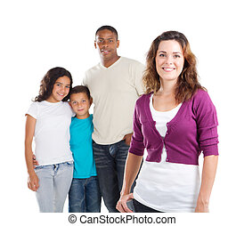 happy mother and family - happy multiracial family of four...