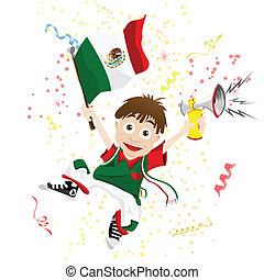 Mexico Sport Fan with Flag and Horn - Vector - Mexico Sport...