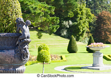 Powerscourt Mansion - Italian Gardens - Flower vase with...