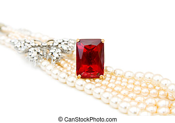 Red ruby ring and pearls - Beautiful jewellery - red ruby...