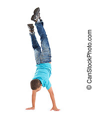 young boy handstand