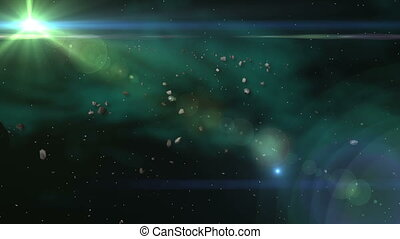 Space Meteor & Asteroid Belt - Space Meteorite & Asteroid...