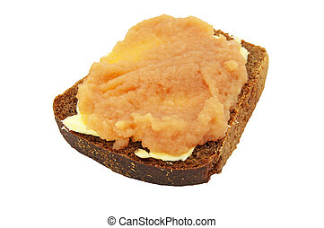 Sandwich from caviar of pollack fish a butter and brown...