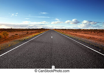 Open Road - Highway in the Australian Outback. Western New...