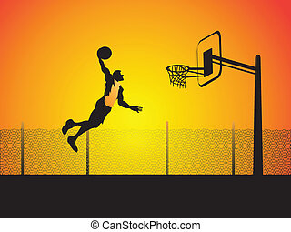 a man can fly - a basketball player do a big slam dunk