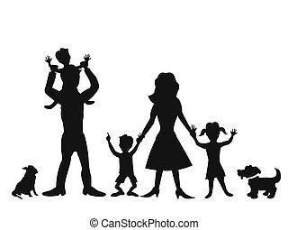 happy family silhouettes - silhouettes of happy family on...