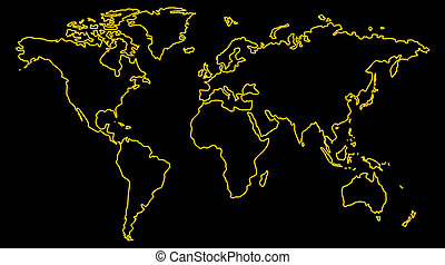 World Map - Black, white, yellow world map for background.