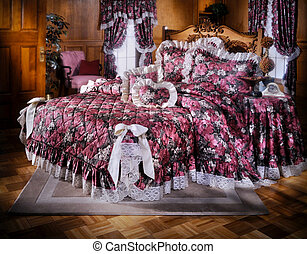 Bed room set with bedding and window light (all sets built...