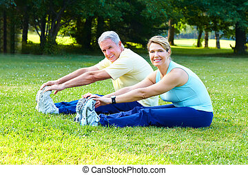 Senior sport. - Fitness and healthy lifestyle. Senior couple...