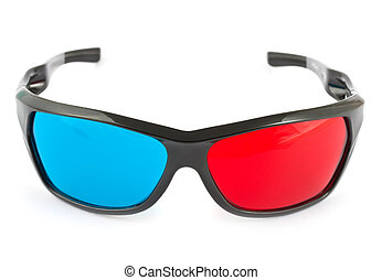 3d glasses in red and blue
