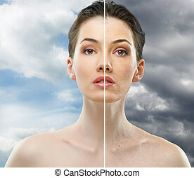beauty portrait - beauty girl on the sky background