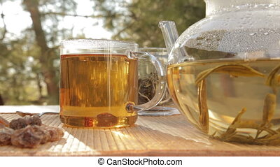 Glass of tea outdoors