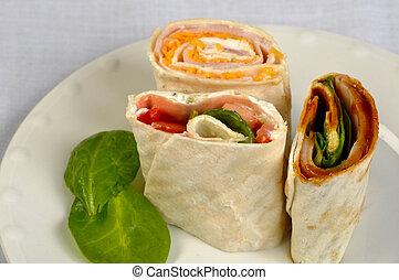 Fresh veggie wraps on a plate