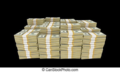 Money Bundles - 3d rendered animation of bundles of dollar...