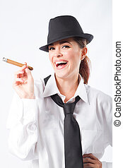 beautiful woman with cigar - beautiful woman dressing in...