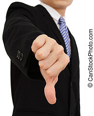 Thumbs down - A businessman showing the thumbs down