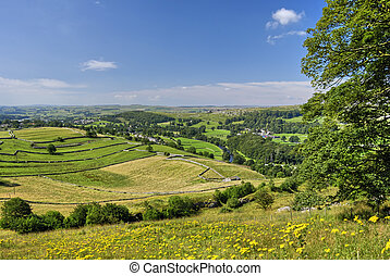 View from Langcliffe Scar - A view of the Ribble valley from...