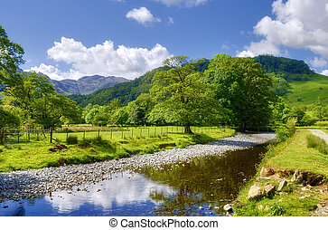 Countryside river - A view of the river Derwent passing...