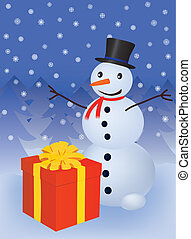 snowman with gift box