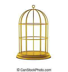 jaula, pájaro,  render,  3D
