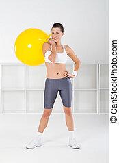 mujer, ejercicio, feliz