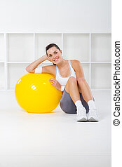 fitness woman with exercise ball