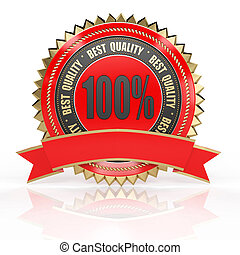 3d best quality red label with red ribbon isolated on white