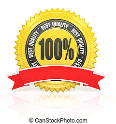 3d best quality yellow label with red ribbon isolated on white