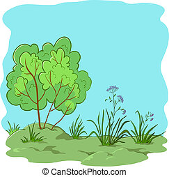 Garden with a bush - Vector nature landscape, garden with a...