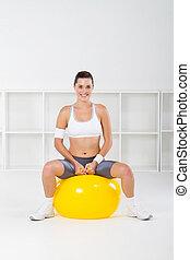mujer, Pelota, ejercicio