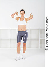 woman with jumping rope