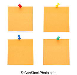 Orange Post-it Notes with Pushpins