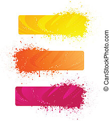 Grunge banners in bright colors - Three beautiful grunge...