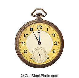 Old antique pocket watch isolated on white background....