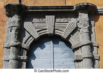 Old doorway - Old front door of a traditional house,...