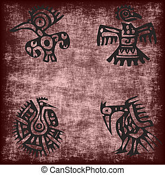 mexican traditional bird motif on grunge - mexican...