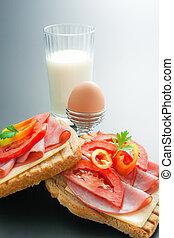 Breakfast - Fresh pork tenderloin sandwiches with cheese,...