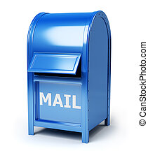 mail box - Dark blue brilliant mail box. 3d image. Isolated...