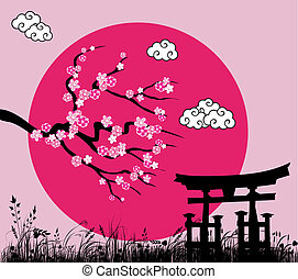 Japanese sakura blossom and tori gate -vector illustration