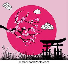 japoneses, sakura, flor, tori, portão, -vector,...