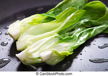 bok choy stir fry on pan
