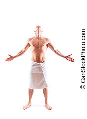 muscular man in  towel.