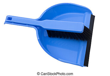 dustpan and brush - blue dustpan and brush on white with...