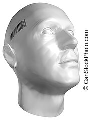 3D render of a human head with barcode stamp on white...
