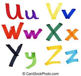 Letters U-Z in ink marker